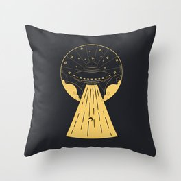 Retro design of flying ufo ship and human silhouette Throw Pillow