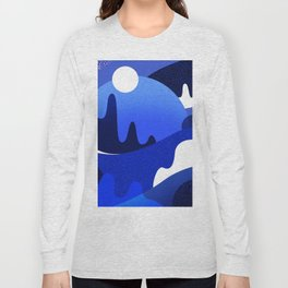 Terrazzo landscape blue night Long Sleeve T-shirt