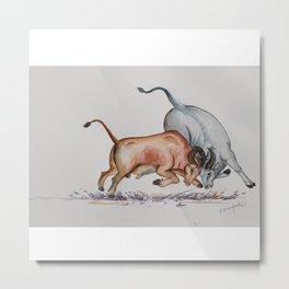 Bull Fight Metal Print