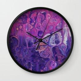 Fluid Nature - Dark Flowers - Abstract Acrylic Art Wall Clock
