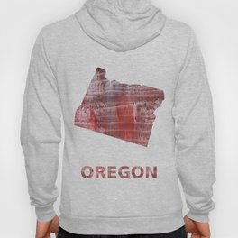 Oregon map outline Striped red watercolor design Hoody
