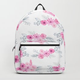 Blush pink gray watercolor hand painted elegant floral Backpack