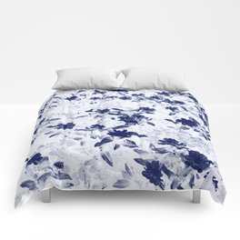 Blue floral duo tone photograph Comforters