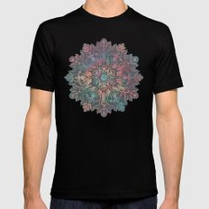 Winter Sunset Mandala in Charcoal, Mint and Melon Black Mens Fitted Tee MEDIUM