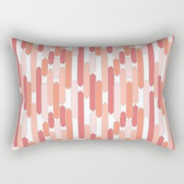 Modern Tabs in Coral and Pink on White Rectangular Pillow