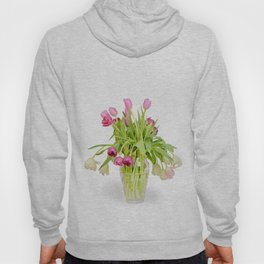 Tulips bouquet in vase isolated on white background Hoody