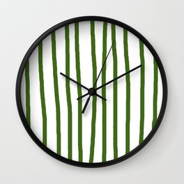 Simply Drawn Vertical Stripes in Jungle Green Wall Clock