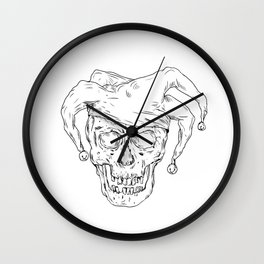 Court Jester Skull Drawing Wall Clock