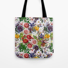Vintage & Shabby Chic - Lush baroque flower pattern on pink Tote Bag