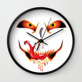 Scary Halloween evil funny face dropping blood from nose and sucking bloody saliva with sneak tongue Wall Clock