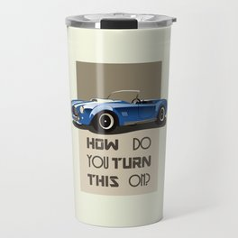 The Classic Game Cheat Code: How do you turn this on Funny Blue Cobra Car Travel Mug