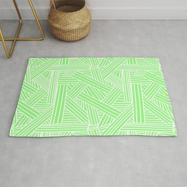 Sketchy Abstract (White & Light Green Pattern) Rug
