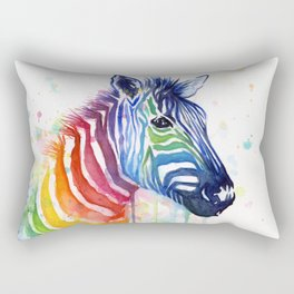 Zebra Rainbow Watercolor Whimsical Animal Rectangular Pillow
