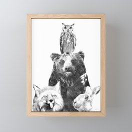 Black and White Woodland Animals Framed Mini Art Print