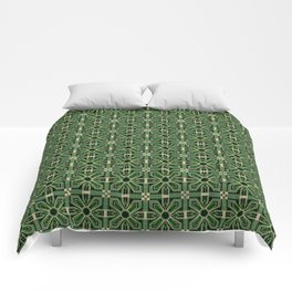 Art Deco Floral Tiles in Emerald Green and Faux Gold Comforters