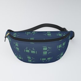 Skull Linework Pattern (Green / Dark Blue) Fanny Pack