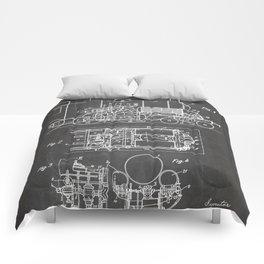 Steam Train Patent - Steam Locomotive Art - Black Chalkboard Comforters