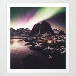 lofoten with aurora Art Print