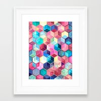 crystal Framed Art Prints featuring Topaz & Ruby Crystal Honeycomb Cubes by micklyn