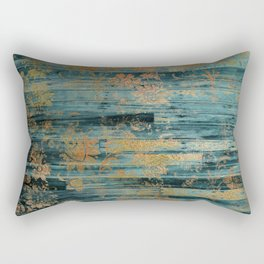 Country Teal Faux Wood Gold Floral Overlay Pattern Rectangular Pillow