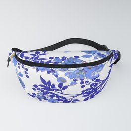 BLUE AND WHITE ROSE LEAF TOILE PATTERN Fanny Pack