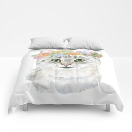Gray Tabby Cat Floral Wreath Watercolor Comforters
