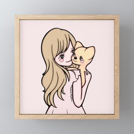 Girl and Puppy Framed Mini Art Print