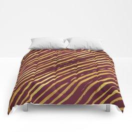 Fuchsia Golden Tiger Stripes Comforters