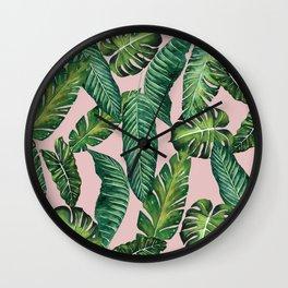 Jungle Leaves, Banana, Monstera II Pink #society6 Wall Clock