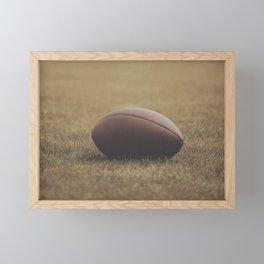 Football Resting in Grassy Turf Aged Effect Framed Mini Art Print