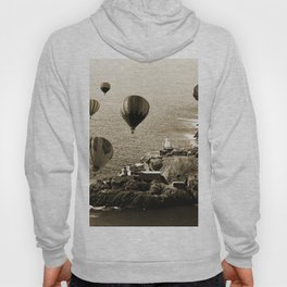 Flying Hot air Balloons over Newfoundland Monochrome Sepia color Hoody