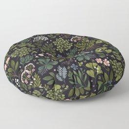 Herbarium ~ vintage inspired botanical art print ~ black Floor Pillow