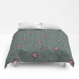 Bohemian Peacock and Leaf Thread Weave Pattern \\ Yellow Green Blue Purple Color Scheme Comforters