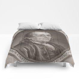 Vintage Portrait of Ben Franklin (1787) Comforters