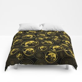 Pug Puppy Pattern gold and black Comforters