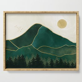 Mt Hood Emerald Mountain Abstract Serving Tray