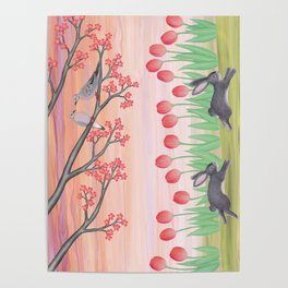 bunnies, tulips, and mourning doves Poster