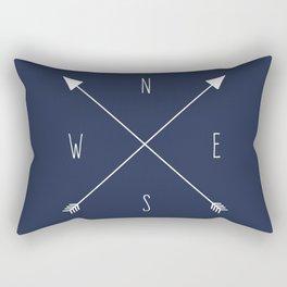 Navy Compass Rectangular Pillow
