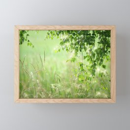 Birch leaves with Green Grass Framed Mini Art Print