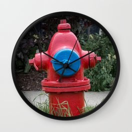 Red and Blue Traverse City Iron Works Fire Hydrant Final Model Fire Plug Wall Clock