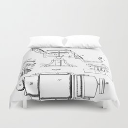 Barbers Chair Patent - Barber Art - Black And White Duvet Cover