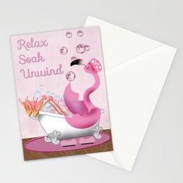 Flamingo Enjoying the Bath Stationery Cards