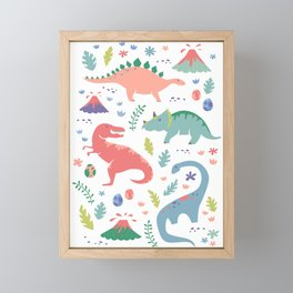 Dinos + Volcanoes - Coral Framed Mini Art Print