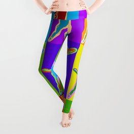 Poster with portrait of a miniature pinscher dog in pop art style Leggings