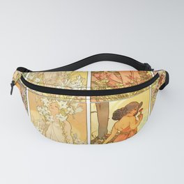 "Alphonse Mucha ""The Flowers (series): Iris, Lily, Carnation, Rose"" Fanny Pack"