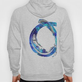 White And Blue Abstract Art - Swirling 4 - Sharon Cummings Hoody
