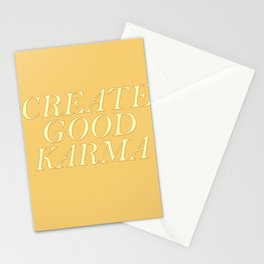 Create good karma - lovely positive humour lettering Stationery Cards