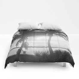 Black and White Florida Palm Trees Photograph (1915) Comforters