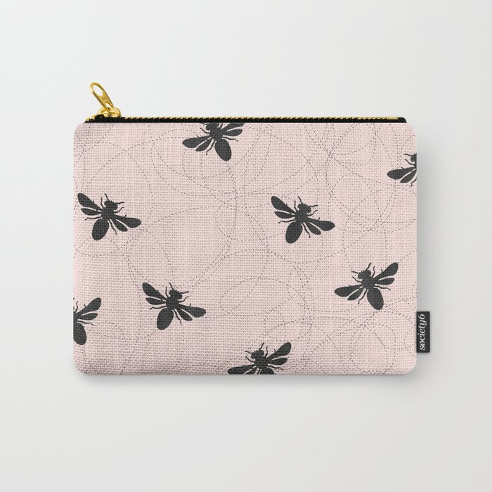 Bee Dance on Pink - Mix & Match With Simplicity of Life Carry-All Pouch