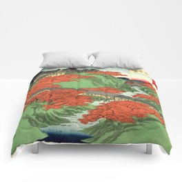 Hiroshige Temple & Mountains Comforters